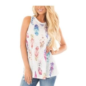 Tops - Feather Print Tank Top
